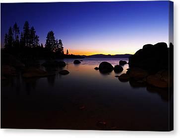 Lake Tahoe Sand Harbor Sunset Silhouette Canvas Print by Scott McGuire