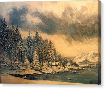 Canvas Print featuring the painting Lake Tahoe Winter Colors 2 by Donna Tucker