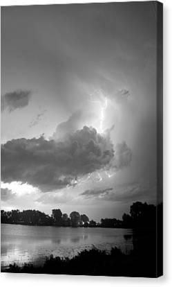Lake Thunder Cell Lightning Burst Bw Canvas Print