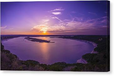 Lake Travis Sunset Canvas Print by David Morefield