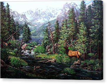 Lake Verna Elk Canvas Print by W  Scott Fenton