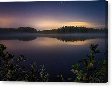 Lake View At Night Canvas Print