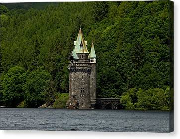 Canvas Print featuring the photograph Lake Vyrnwy Straining Tower by Stephen Taylor
