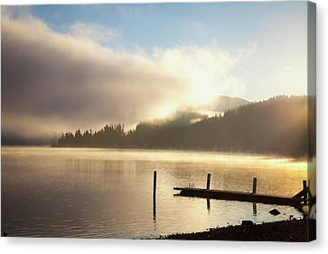 Reflections Of Sun In Water Canvas Print - Lake Whatcom At Sunrise  Bellingham by Blake Kent