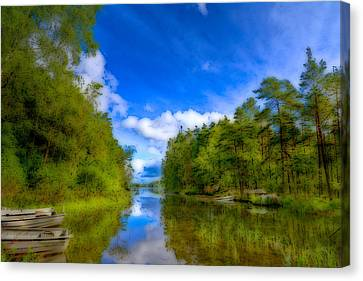 Jogging Canvas Print - Lake With Beautiful Surroundings by Tommytechno Sweden