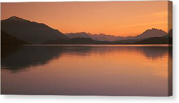 Lake Zug In The Evening Mt Rigi & Mt Canvas Print by Panoramic Images