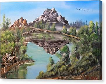 Lakehouse Canvas Print by Remegio Onia
