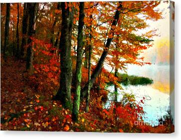 Oak Canvas Print - Lakeside Beauty by Lianne Schneider