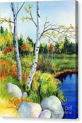 Lakeside Birches Canvas Print by Hailey E Herrera