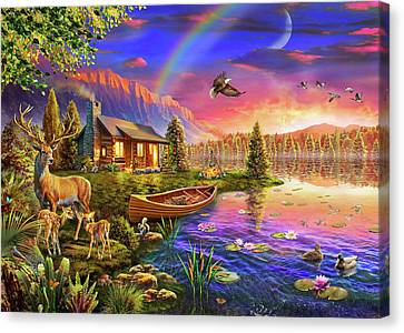 Canvas Print featuring the drawing Lakeside Cabin  by Adrian Chesterman