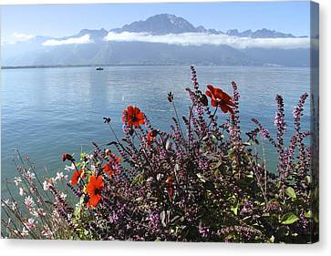 Lakeside Flower Beds Canvas Print