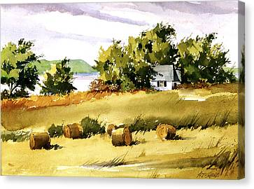 Lakeside Hay Canvas Print by Art Scholz