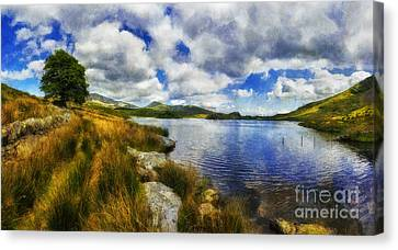Park Scene Canvas Print - Lakeside Memories by Ian Mitchell
