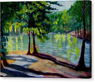 Lakeside Trail Enhanced Canvas Print by Gretchen Allen