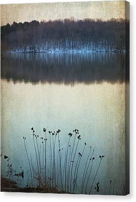 Lakeside Winter Flowers Canvas Print