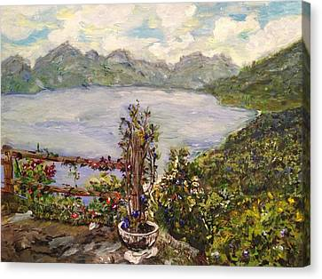 Canvas Print featuring the painting Lakeview by Belinda Low