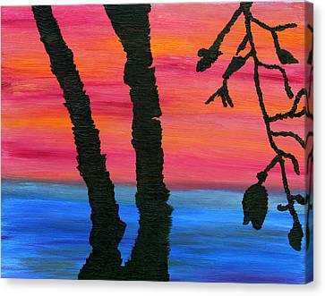 Canvas Print featuring the painting Lakeview Sunset by Vadim Levin