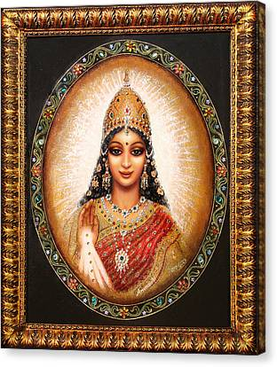 Canvas Print featuring the painting Lakshmi Goddess Of Abundance by Ananda Vdovic