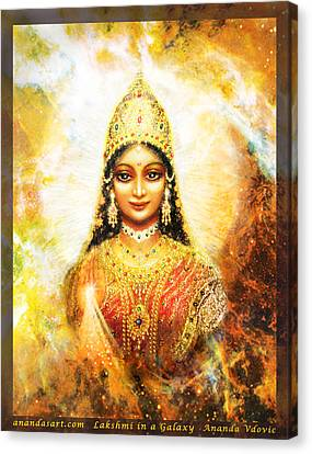 Canvas Print featuring the mixed media Lakshmi Goddess Of Abundance In A Galaxy by Ananda Vdovic