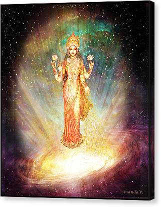 Gold Star Mother Canvas Print - Lakshmi Goddess Of Abundance Rising From A Galaxy by Ananda Vdovic