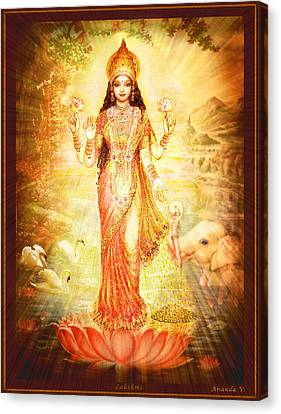 Lakshmi Goddess Of Fortune Canvas Print by Ananda Vdovic