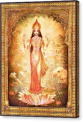 Lakshmi Goddess Of Fortune With Lighter Frame Canvas Print by Ananda Vdovic