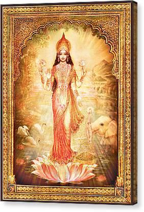 Lakshmi Goddess Of Fortune With Lighter Frame Canvas Print