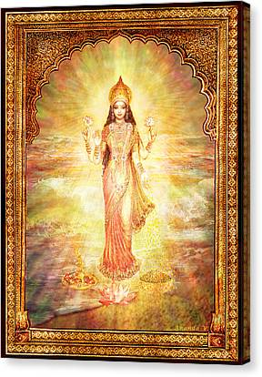 Canvas Print featuring the mixed media Lakshmi The Goddess Of Fortune And Abundance by Ananda Vdovic