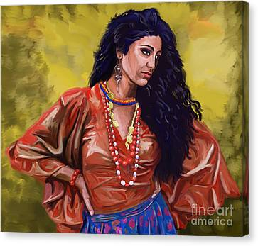 Canvas Print featuring the painting Lala Gypsy Girl by Tim Gilliland