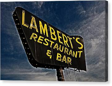 Canvas Print featuring the photograph Lambert's Restaurant And Bar by Andy Crawford