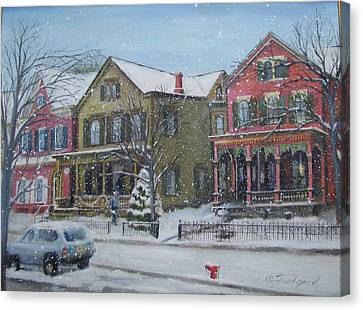 Lambertville In The Snow Canvas Print by Oz Freedgood