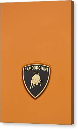 Lambo Hood Ornament Orange Canvas Print by Scott Campbell