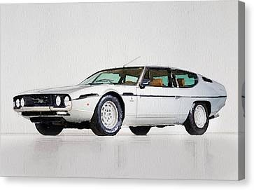 Lamborghini Espada Watercolor Canvas Print by Naxart Studio