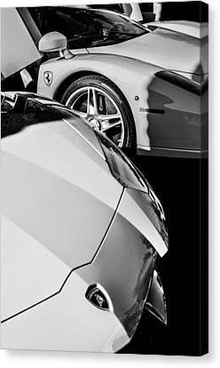 Lamborghini - Ferrari Front Ends -0160bw Canvas Print by Jill Reger