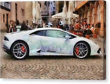 Lamborghini Huracane Lp 610-4 Parked In The City Canvas Print