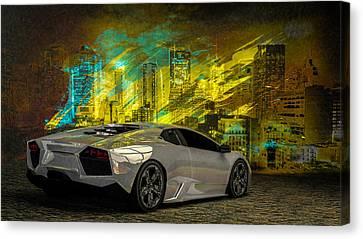 Times Square Canvas Print - Lamborghini Reventon by Louis Ferreira