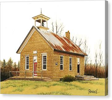Canvas Print featuring the painting Lambson School by Ferrel Cordle