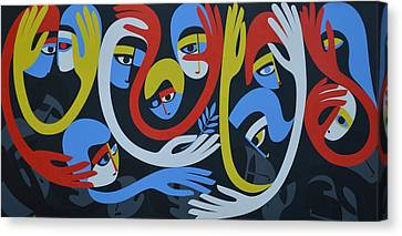 Lamentation And Resolution, 1983 Acrylic On Board Canvas Print by Ron Waddams