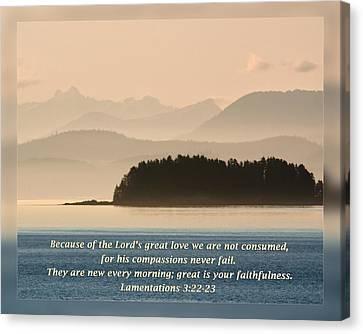 Lamentations 3 22-23 Canvas Print by Dawn Currie