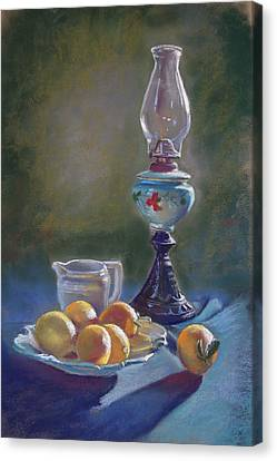 Lamp And Lemons Still Life Canvas Print by Lynda Robinson