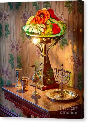 Lamp And Menorah Canvas Print by Inge Johnsson