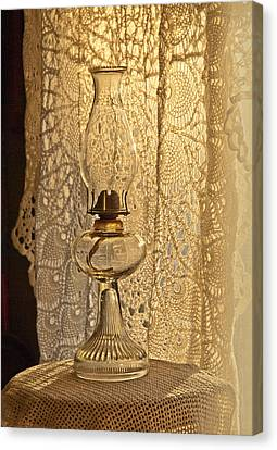 Canvas Print featuring the photograph Lamp By The Window by Lena Wilhite