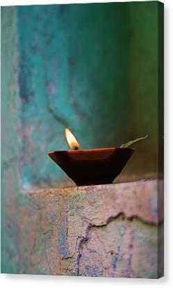 Lamp In A Little Shrine Canvas Print by Keren Su