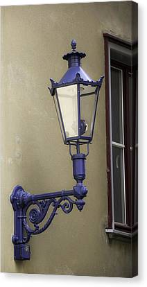 Prussian Blue Canvas Print - Lamp In Cologne by Teresa Mucha