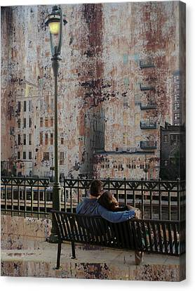 Lamp Post And Couple On Bench Canvas Print by Anita Burgermeister