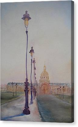 Lamp Post In Front Of Dome Church, 2010 Oil On Canvas Canvas Print by Antonia Myatt