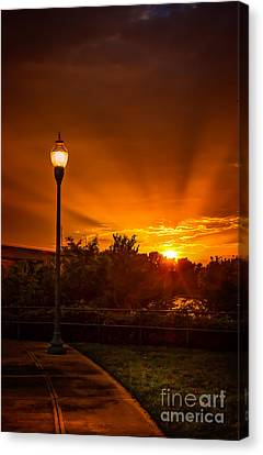 Lamp Post Sunset Canvas Print