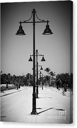 Lamp Posts White Street Pier Key West - Black And White Canvas Print by Ian Monk