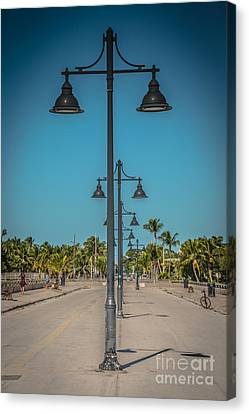 Lamp Posts White Street Pier Key West - Hdr Style Canvas Print by Ian Monk