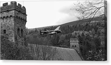 Lancaster At The Derwent Dam Black And White Version Canvas Print